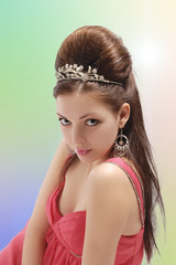 Sexy Caucasian Brunette Woman with Beautiful Crown