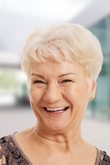 Portrait of an old, elderly lady.