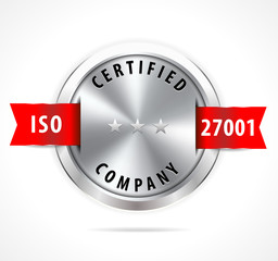 ISO 27001 certified, silver badge with red ribbon - vector eps10
