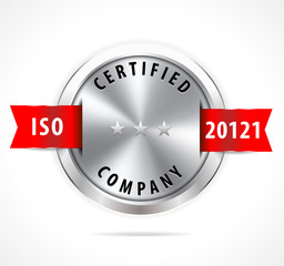 ISO 20121 certified, silver badge with red ribbon - vector eps10