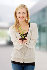 Woman with plant and soil in hand