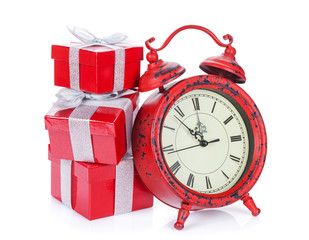 Christmas gift boxes and clock