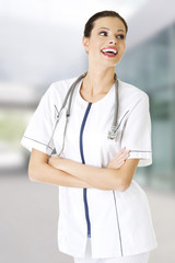 Female doctor wearing stethoscope