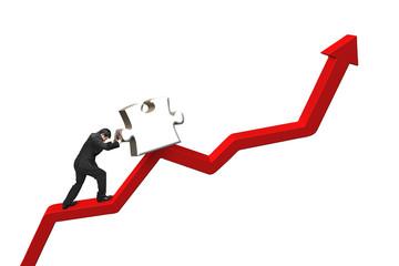 businessman pushing heavy jigsaw puzzle upward on red trend line