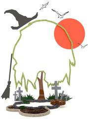3D Halloween background decoration in haunting graveyard