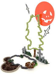 3D Halloween background decoration in haunting graveyard with Ja