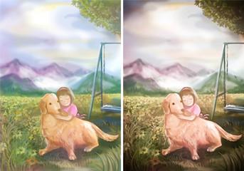 An illustration of cute girl hugging her Golden Retriever in nat