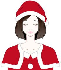 女性サンタ 目を閉じる