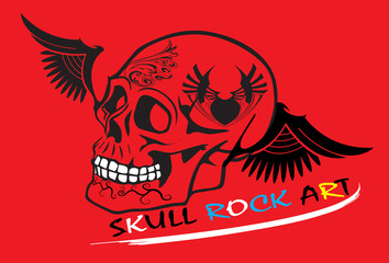 skull and red background