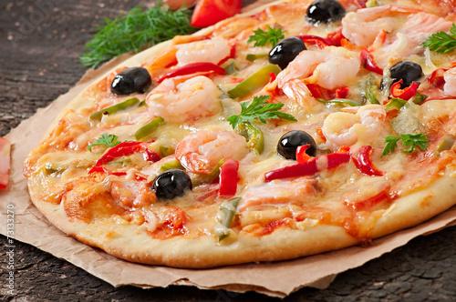 Пицца с красной рыбой и креветками рецепты