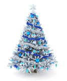 Fototapety Silver and blue Christmas tree