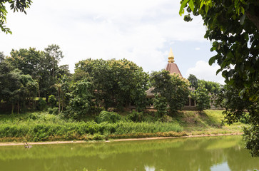 the asian pagoda beside the pond