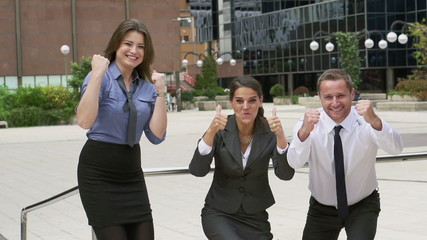 Happy businesspeople have succeed, slow motion, steadycam shot