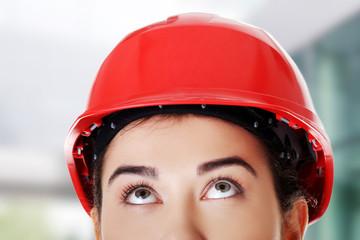 Woman wearing a helmet