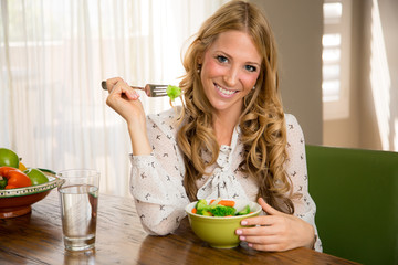 Woman proud of what she eats/drinks