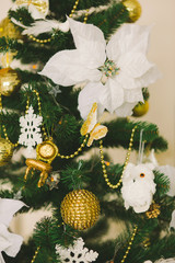 Christmas interior in gold color 3