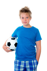 boy in blue with ball
