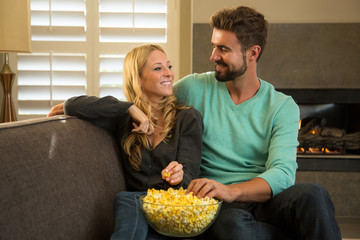 Couple on a date watching a movie