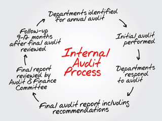 Hand drawn Internal Audit Process flow chart, diagram shapes