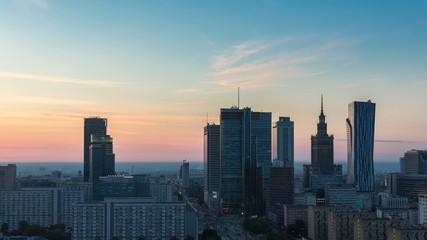 Warsaw Skyline Sunrise City Timelapse, Polish Capital