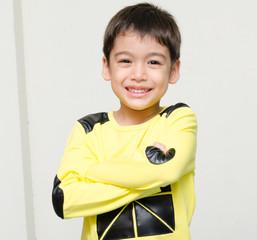 Little boy smiling portrait on white background