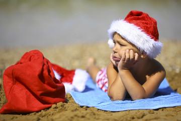 funny kid Santa Claus