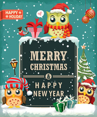 Vintage Christmas poster design with owl