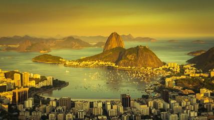 Beautiful sunset over Rio de Janeiro panning Time Lapse, Brazil