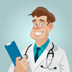 Confident medical doctor. A male doctor with medical report.