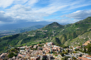 Ancient town Taormina on the Sicilian coast