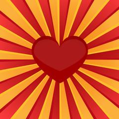 Sunburst red heart