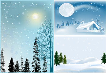 three landscapes with firs in snow