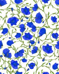 flower blue ornamental seamless background