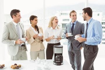 Happy work team during break time