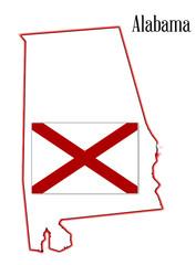 Alabama State Flag and Map