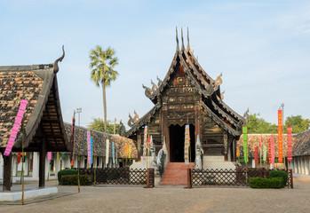 Beautiful Thai Lanna wooden temple in Chiang Mai, Thailand