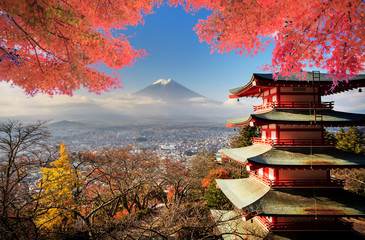 Fuji with fall colors in Japan