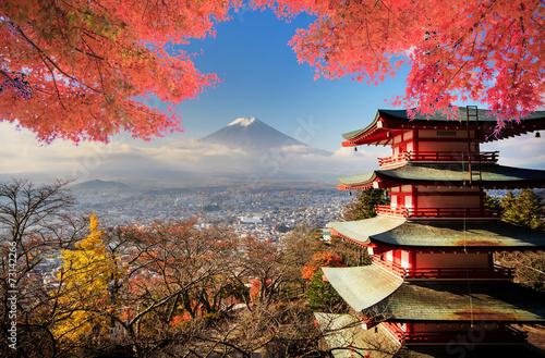 Leinwanddruck Bild Fuji with fall colors in Japan