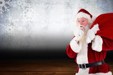 Santa claus being quiet