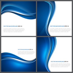 Set of abstract blue vector background with wave, shiny effect