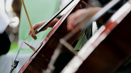 Two Musicians Playing the Violoncello. Close-up.