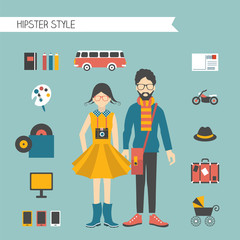 Hipster couple style concept. Vector illustration.