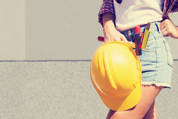 Sexy female construction worker.