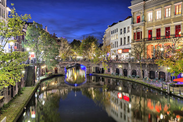 Bridge across canal in the historic center of Utrecht