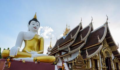 Bid Buddha statue at Wat Rajamontean Temple in Chiangmai Thailan