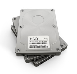 Computer hard drives stack
