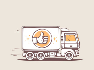 Vector illustration of truck best delivery of goods to customer.