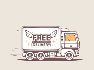 Vector illustration of truck free and fast delivery of goods to