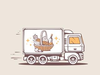 Vector illustration of truck free and fast delivering basket wit