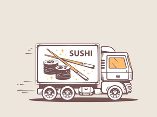 Vector illustration of truck free and fast delivering sushi to c